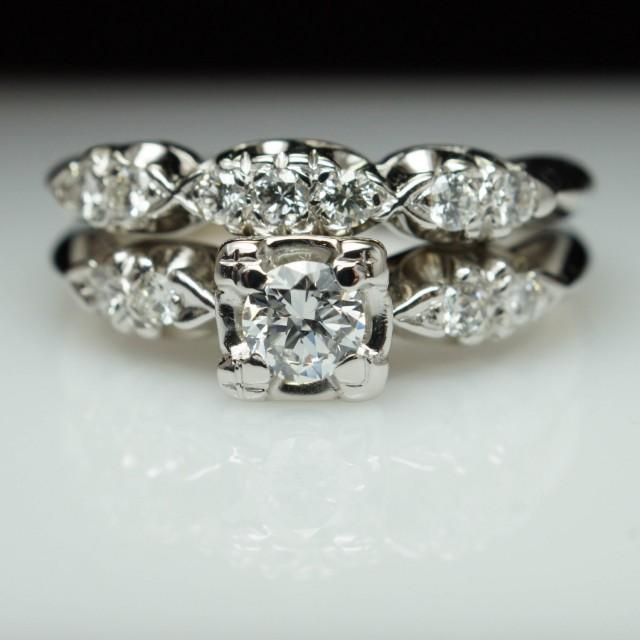 vintage wedding rings sets vintage deco bridal set engagement ring 8333