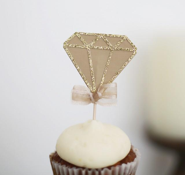 diamond decorations for weddings 12 cup cake toppers bachelorette 3513
