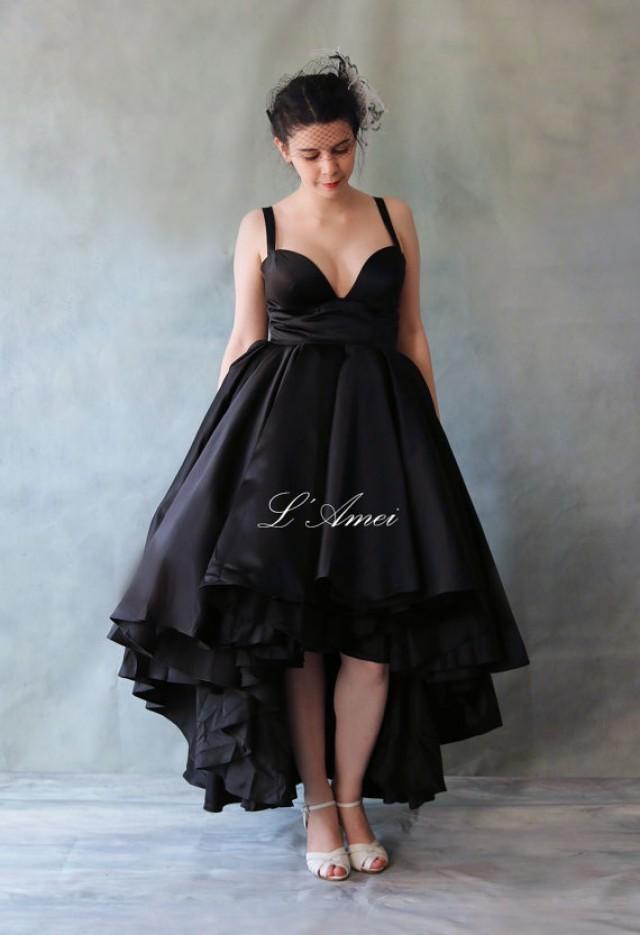 Y Deep V Neck Line Short Front Long Back Black Wedding Dress