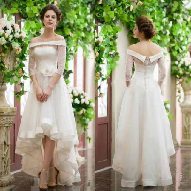 high low wedding dress with sleeves fashion 3 4 sleeve high low wedding dresses lace 4792