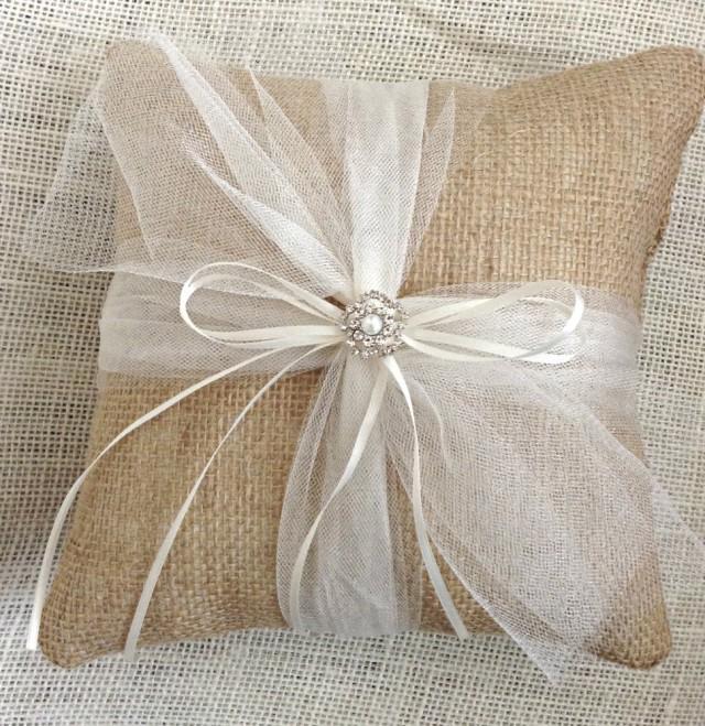 Burlap Ring Bearer Pillow Wedding Rustic Cushion 2481347