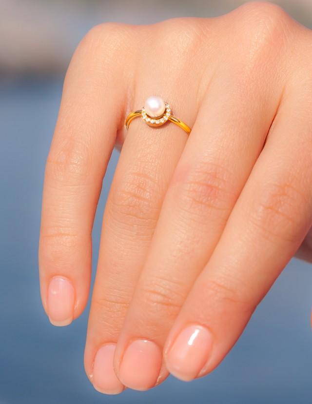 pearl wedding ring pearl engagement ring unique engagement ring pearl 6425
