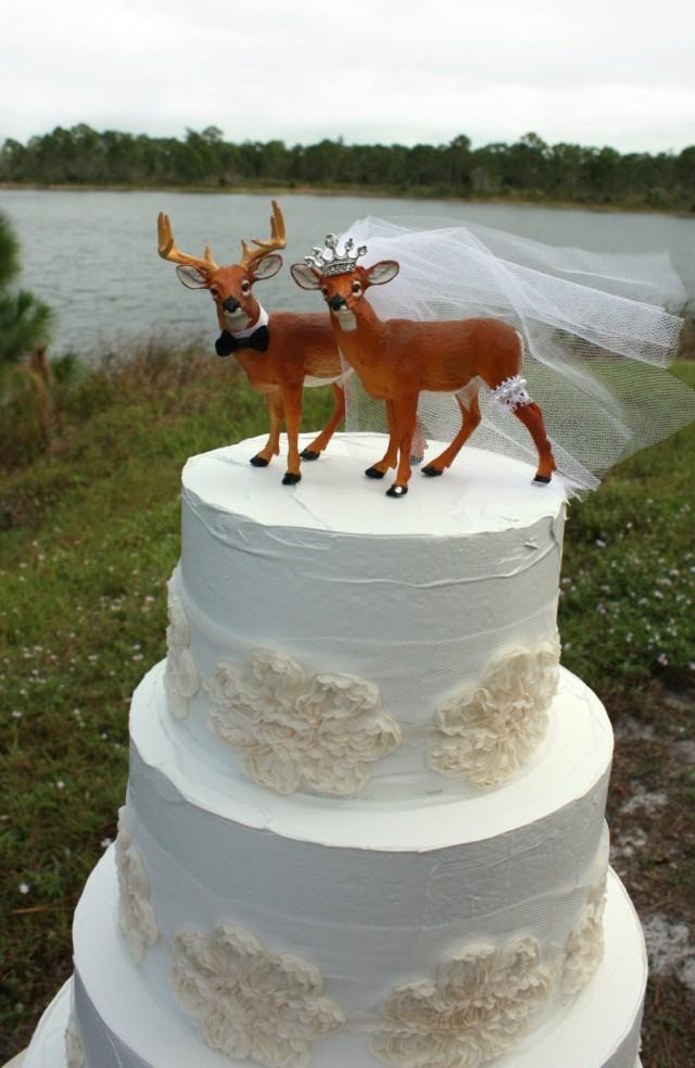 bow hunting wedding cake toppers buck doe groom princess tiara deer white 12107