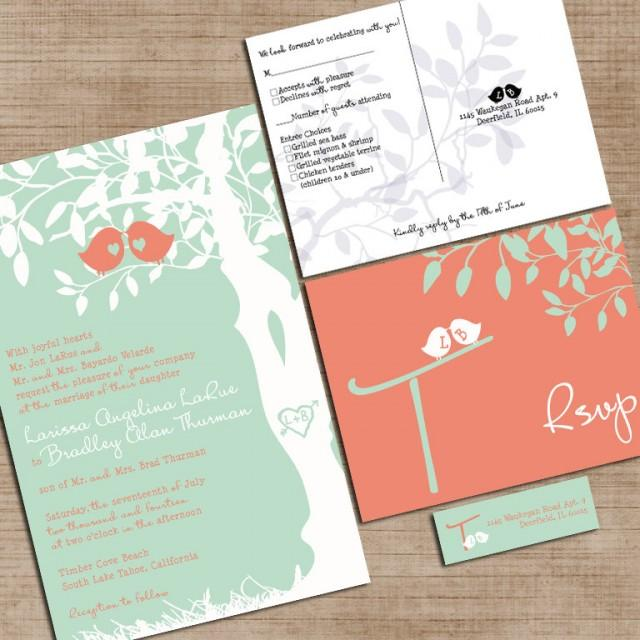 unique wedding invitations mint green and coral wedding invitations custom 8188