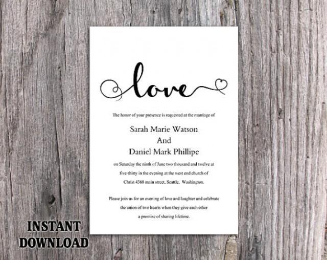 Diy Wedding Invitation Template Editable Word File Instant Printable Black White Elegant Heart 2494082