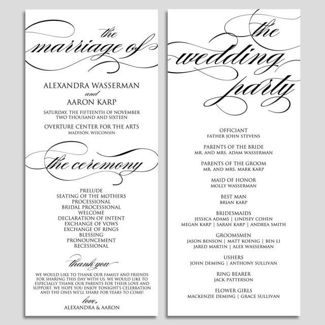 Printable Program Template Download - Printable Wedding Program ...