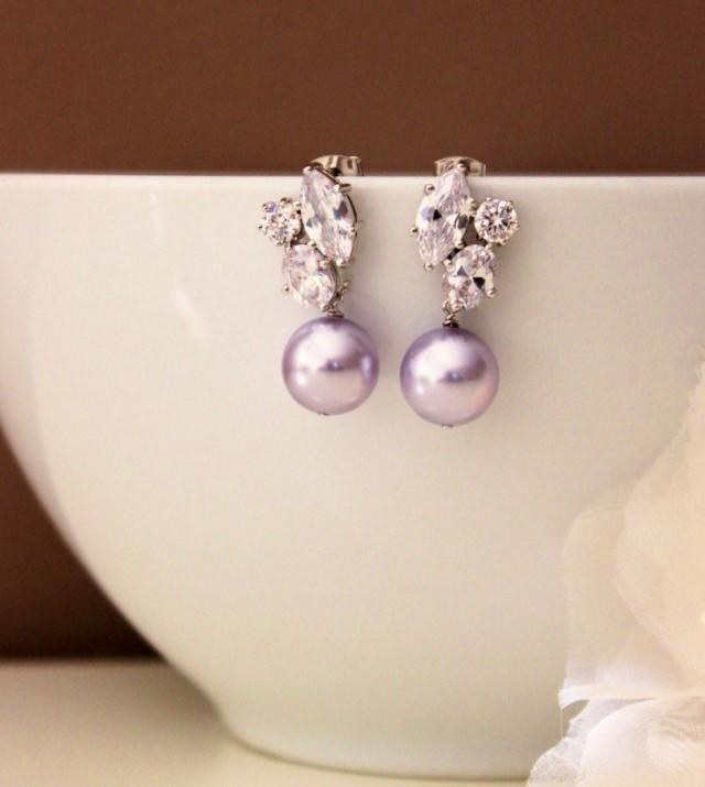 Lavender Purple Pearl Earrings
