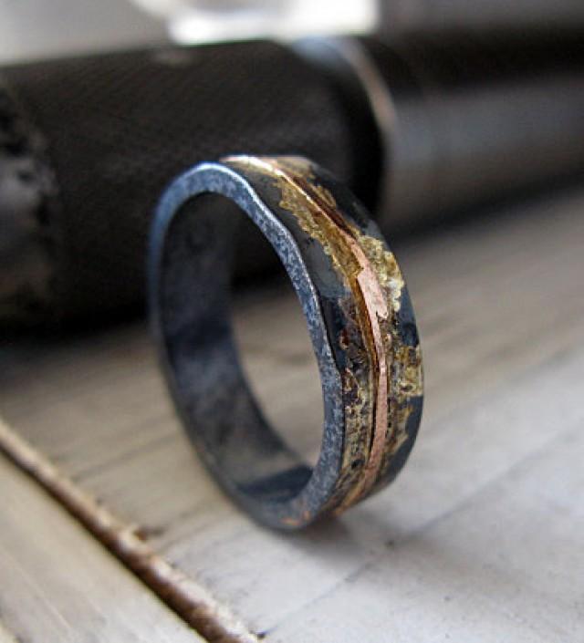 Mens Wedding Band Rustic Ring Oxidized Gold Black Unique Bimetal Ooak 2499882