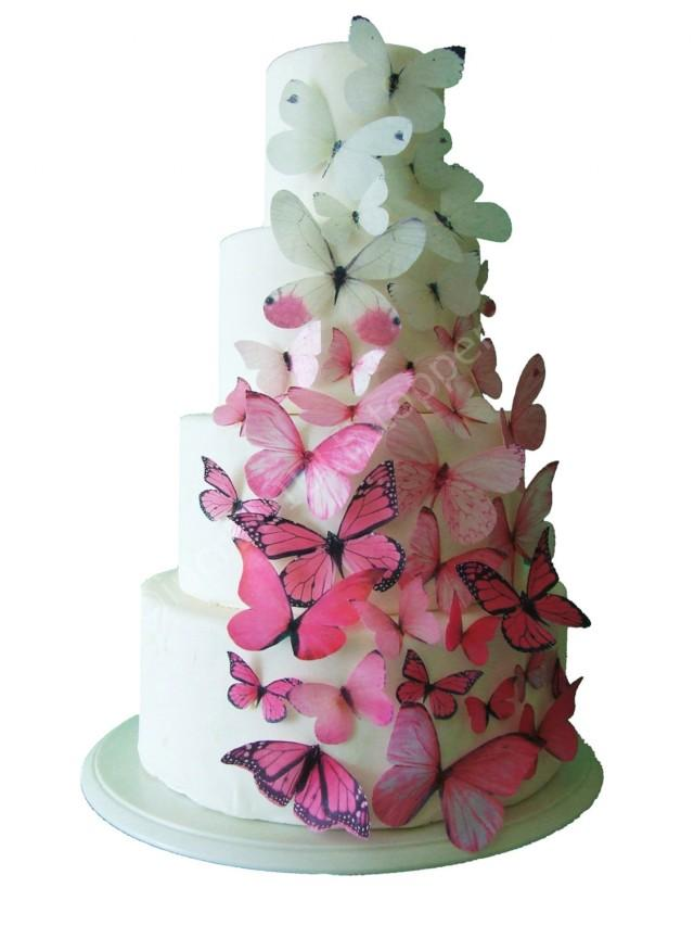 edible wedding cake decorations 2 toppers ombre edible butterflies in pink 3832