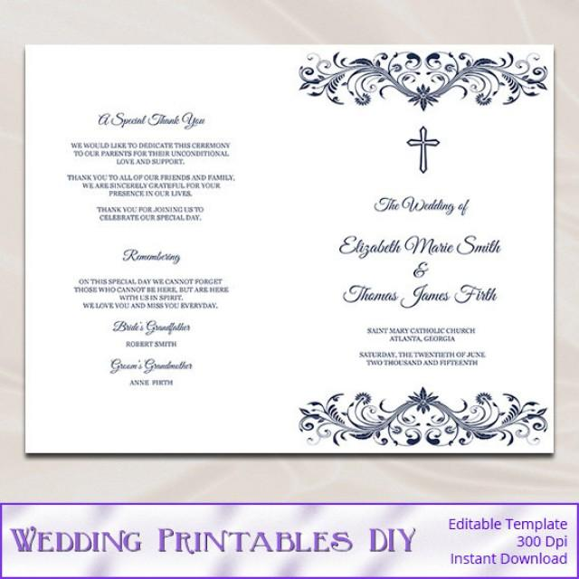 Catholic Wedding Program Template Diy Navy Blue Cross Ceremony Booklet Folded Church Programs Editable Text Instant Word Pdf P53 2510932