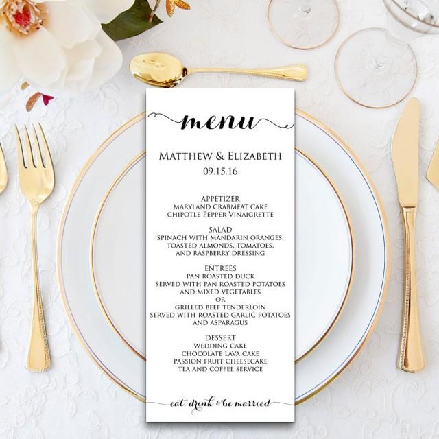 Wedding Menu Template Cards Printable Formal Dinner Pdf Instant Wbwd3 2512227 Weddbook