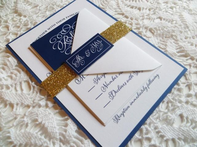 gold glitter wedding invitations navy wedding invitation with gold glitter belly band gold 4534