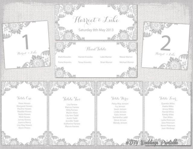 Wedding Seating Chart Template Silver Gray Antique Lace Printable Table Plan Cards Diy Word Instant 2519953 Weddbook