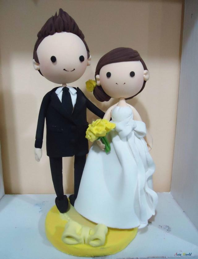 clay wedding cake toppers wedding cake topper clay in yellow wedding theme 12879