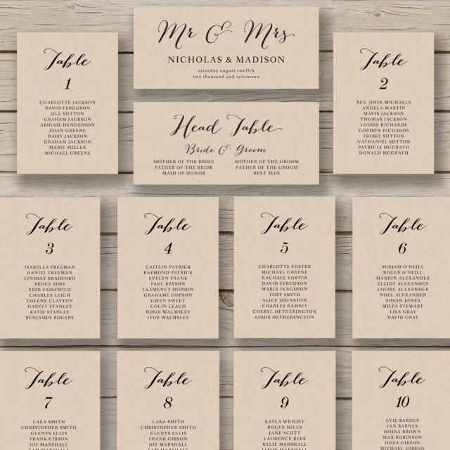 Wedding Seating Chart Template Printable Editable Table Plan You Edit In Word Rustic Calligraphy Style 2523228