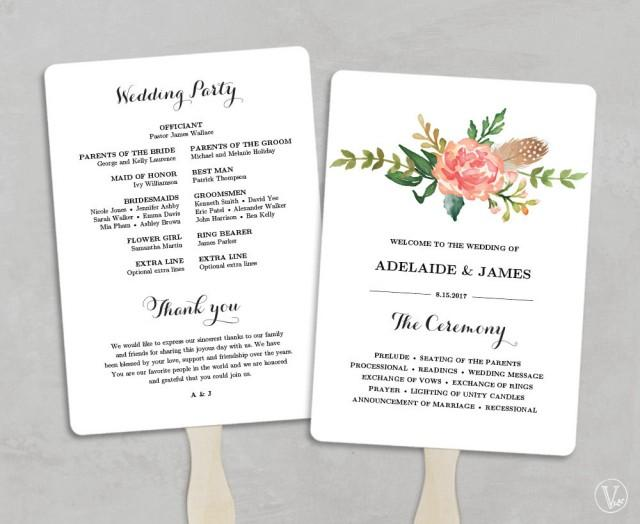 wedding program fans printable wedding program template fan wedding programs 12386