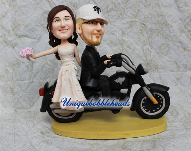 wedding cake toppers that look like bride and groom motorcycle wedding cake topper unique cake topper 26608