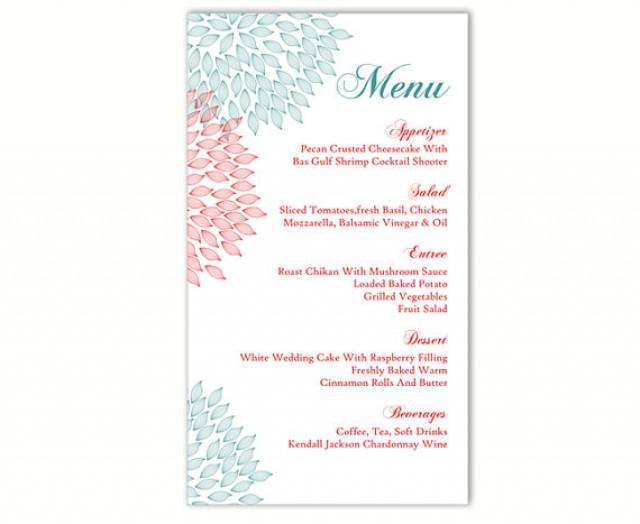 Wedding Menu Template Diy Card Editable Text Word File Instant Blue Red Fl Printable 4x7inch 2540449 Weddbook