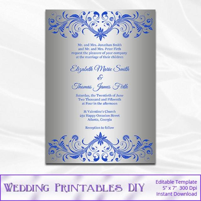Royal Blue And Silver Wedding Invitation Template Diy Foil Shower Invites Printable Editable Text Instant Pdf Word P113 2546033
