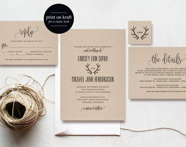 wedding invitations printing rustic antler wedding invitation wedding invitation 9764