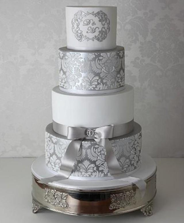 wedding cakes silver 2 damask cake stencils for wedding cakes plantillas para 25463