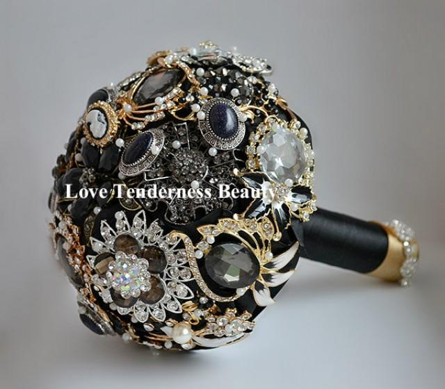brooch wedding bouquets for sale 7 quot black brooch bouquet black and gold silver 2085
