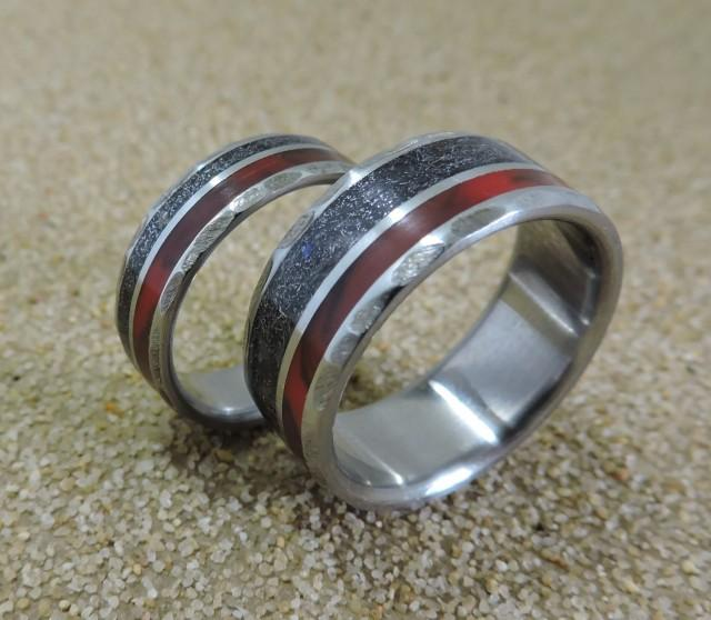 meteorite wedding ring titanium rings meteorite rings wedding rings wedding 5848