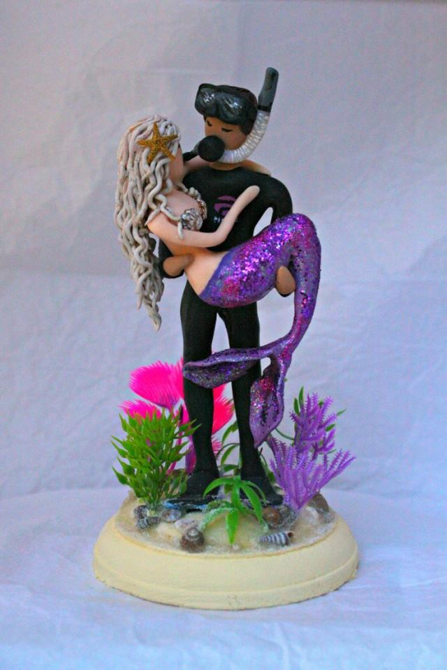 mermaid cake topper mermaid and scuba diver wedding cake topper customized to 5834