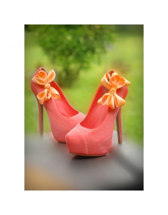 coral wedding shoes light orange wedding shoe coral pink salmon bow 3066