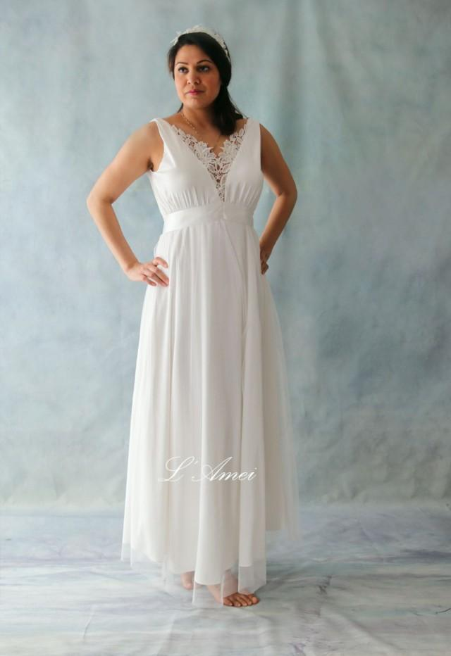 linen wedding dress simple v ivory stretch silk chiffon with cotton lace 5552