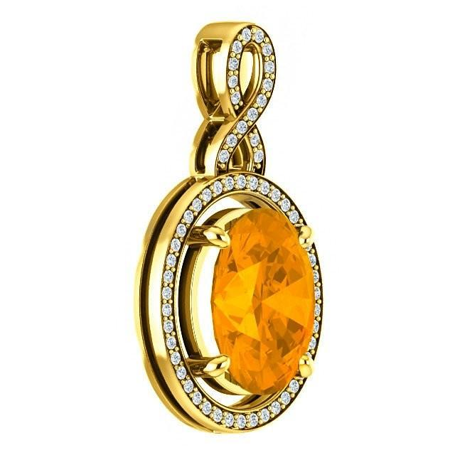 jewelry supplies near me 11x9mm 3 carat citrine 18k yellow gold necklace 754