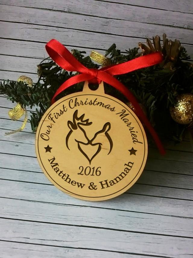 Personalized Our First Christmas Married S 1st Ornament Wedding Gift Wooden Rustic 2590267 Weddbook