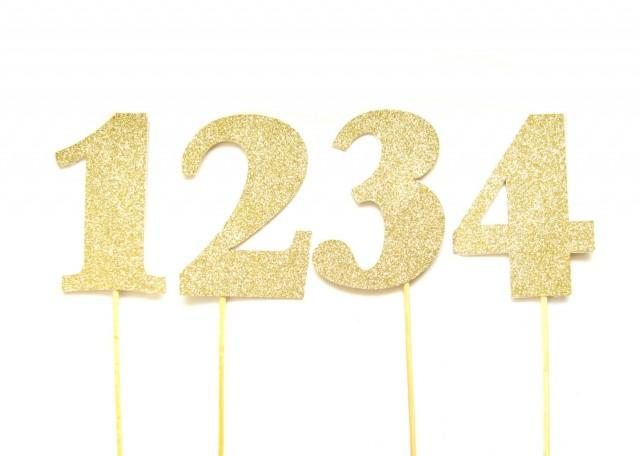 Large Gold Glitter Number Cake Toppers Table Numbers Birthday Wedding Topper Custom Name 2590286
