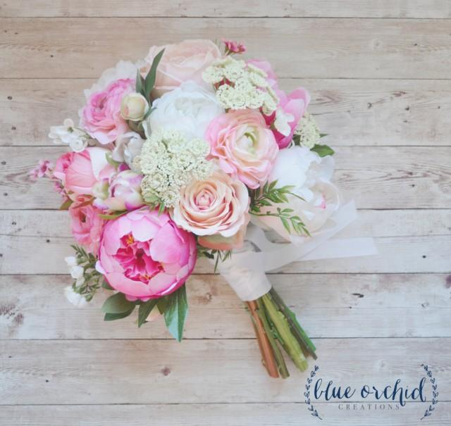 silk flower bouquets wedding 2 pink peony bouquet pink wedding bouquet peony bouquet 7385