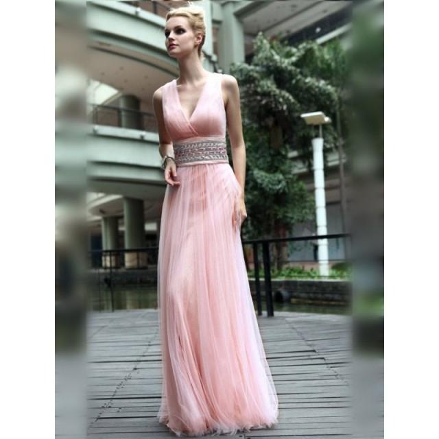 Elegante Rosa Ärmellos V-Ausschnitt Lange Abendkleid ...