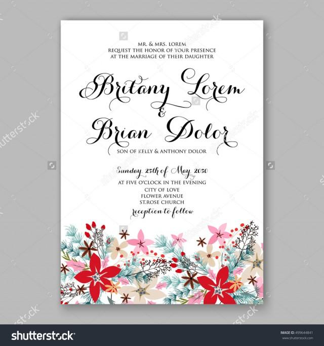 wedding invitation sample poinsettia wedding invitation sample card beautiful winter 9724