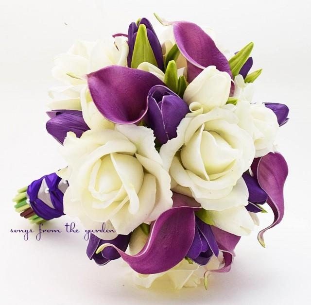 Real Touch Purple Callas Tulips White Roses Bridal Bouquet Silk Flower Customize For Your Colors 2600678 Weddbook