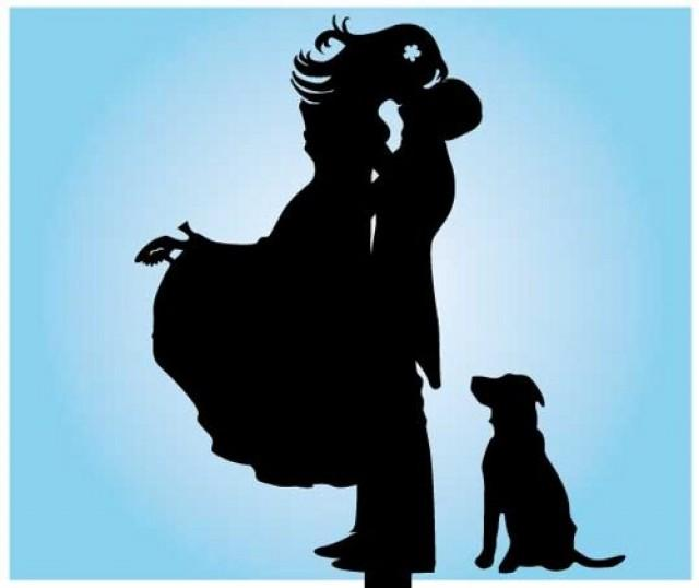 wedding cake topper silhouette with dogs and groom silhouette wedding cake topper cake 26501
