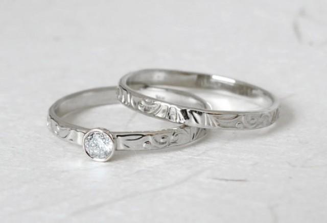 Wedding Ring Set Bridal Set Matching Ring Set Floral Diamond