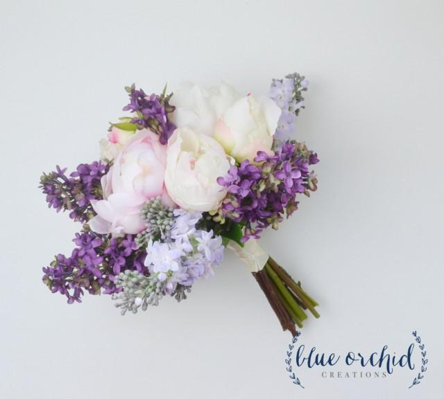 silk flower bouquets wedding 2 wedding bouquet lilac bouquet peony bouquet lavender 7385