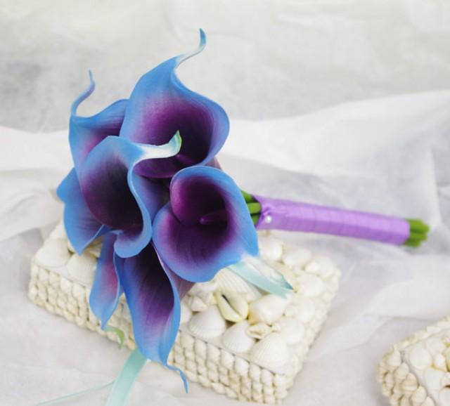 silk flower bouquets wedding 2 silk flower wedding bouquet purple blue calla lilies 7385