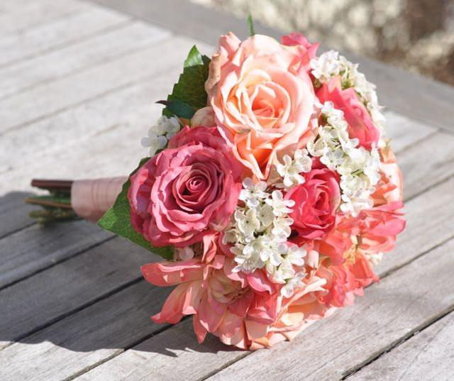 Summer Wedding Bouquet Keepsake Bouquet Bridal Bouquet Made With Coral Rose Pink Rose Orange Dahlia Silk Silk Wedding Bouquet 2626768 Weddbook