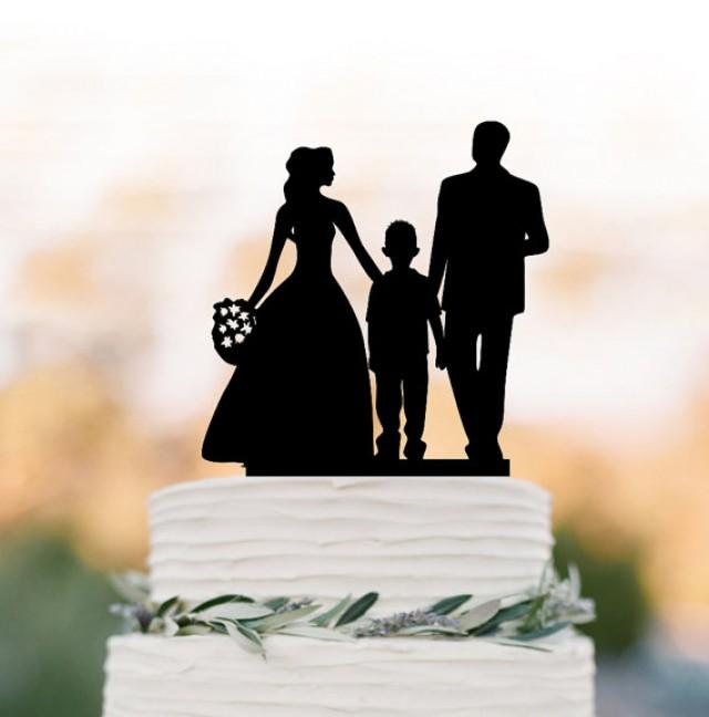 family silhouette wedding cake toppers family wedding cake topper with boy and groom 14183