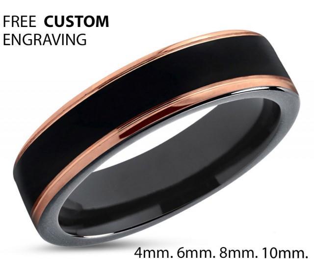 Black Tungsten Ring Rose Gold Wedding Band Carbide 4mm 18k Man Male Women Anniversary Matching 2650630 Weddbook