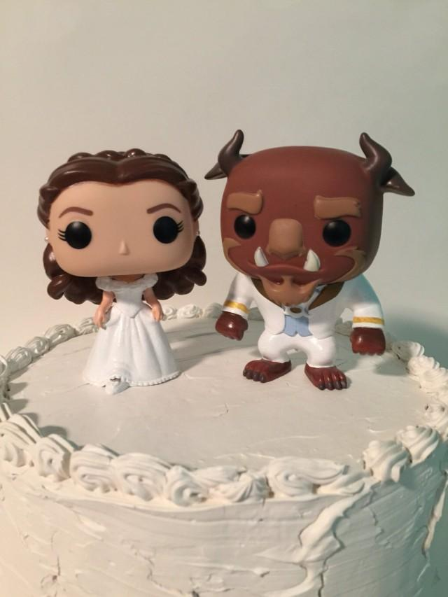 beauty and the beast cake topper custom funko pop and the beast wedding cake topper 1622