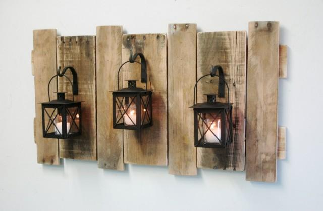 Farmhouse Style Pallet Wall Decor With Lanterns French Country Rustic Shabby Chic Home Fixer Upper Large 2681908