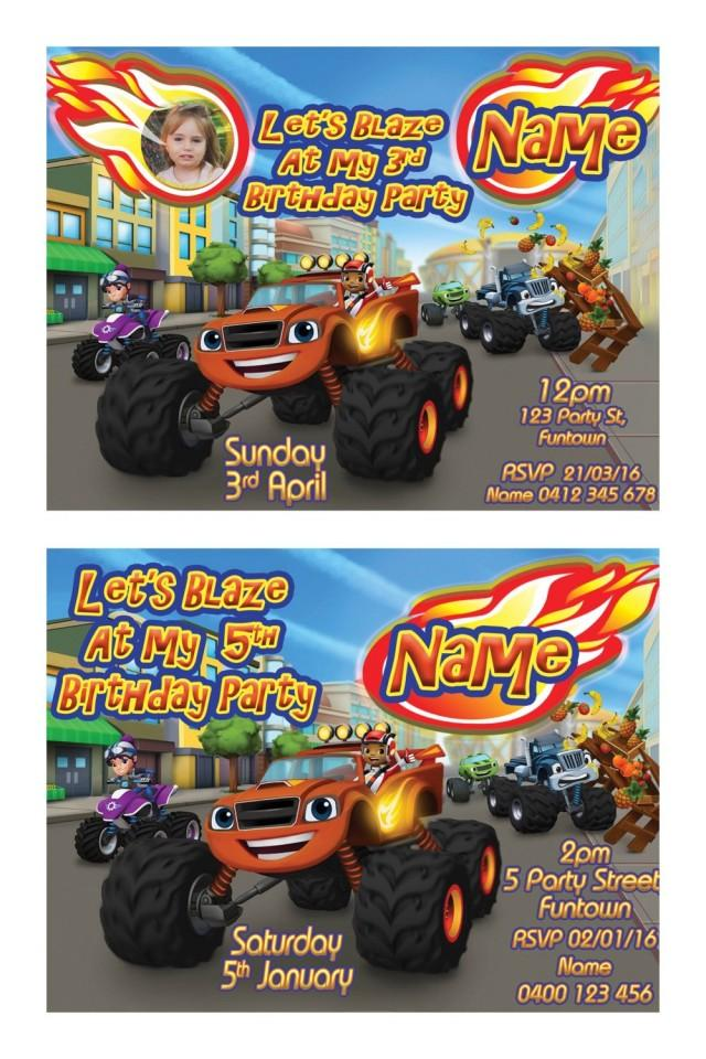 Blaze And The Monster Machines Print Your Own Invitation Digital