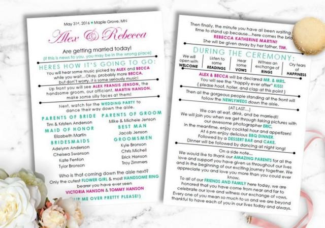 Funny Wedding Program Instant Download Barn Wedding Laid Back Wedding Diy Template Modern Bride Bride On A Budget 2722452 Weddbook