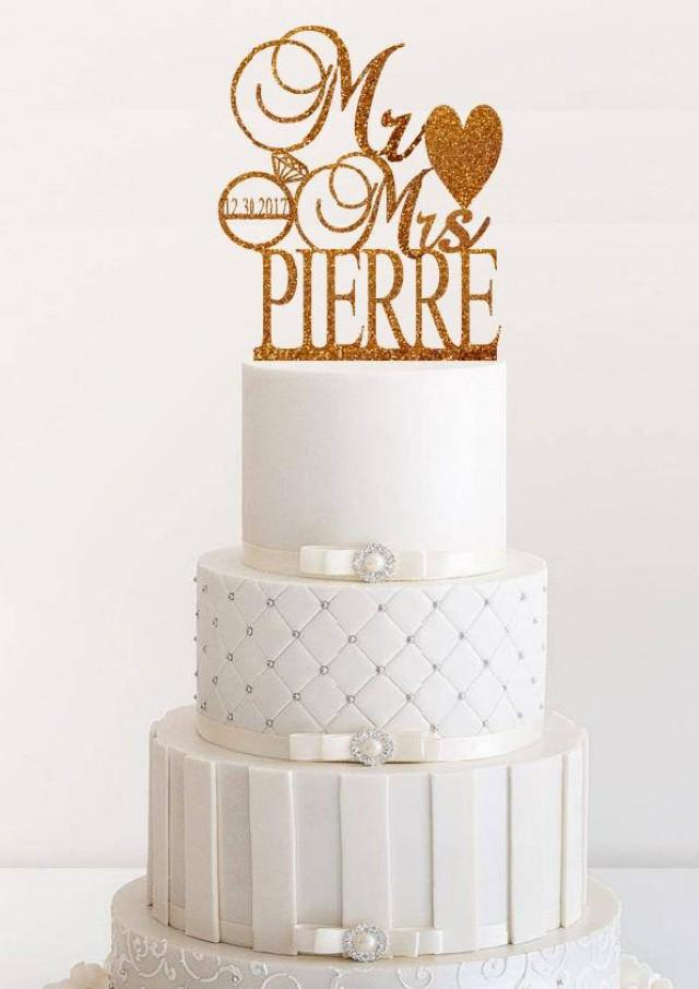 gold wedding cake topper wedding cake topper personalized wedding cake topper 14833