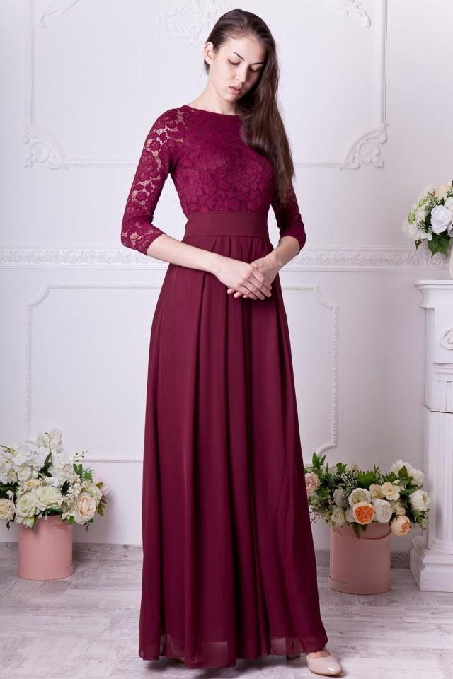 Burgundy Bridesmaid Dress Long Floral Lace Formal Gown With Sleeves Modest Evening Dress Plus Size 3 4 Sleeves Mother Of The Bride Dress 2891928 Weddbook
